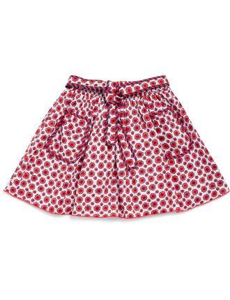 Flower Print Skirt W/Tie Waist