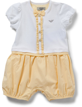 Onesie with Spot Bottom and Bow
