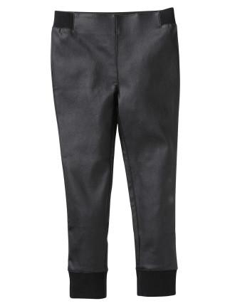 Black Cuffed Coated Pant