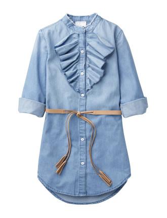 Frill Front Denim Dress