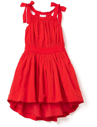 Kids Gather Tie Front Dress