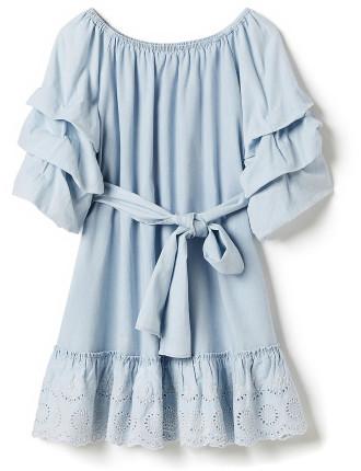 Girls Balloon Sleeve Plain Dress