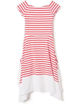 Striped Flip Hem Dress