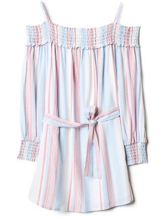 Kids Stripe Off Shoulder Dress