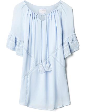 Kids Lace Trim Hi-Low Dress