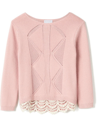 Lace Insert Knit