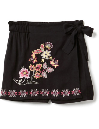 Embroidered Skort