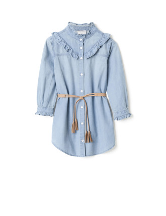 Chambray Frill Dress