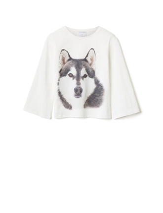 Long Sleeve Husky Face Top