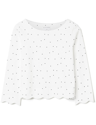 Kids Longsleeve Scallop Top
