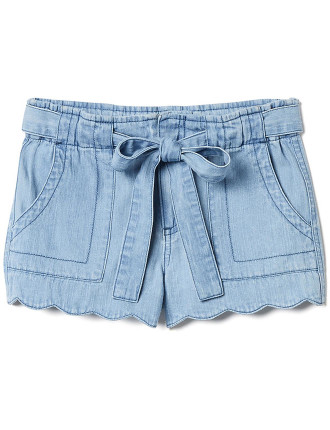 Kids Scallop Hem Tie Short