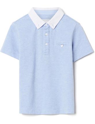 Kids Contrast Collar Polo