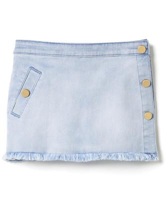 Kids Side Button Denim Skirt