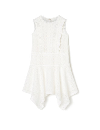 Girls Lace Handkerchief Hem Dress