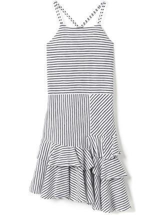 Girls Frill Hem Striped Dress