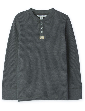 Solid Waffle Henley 2-12 years