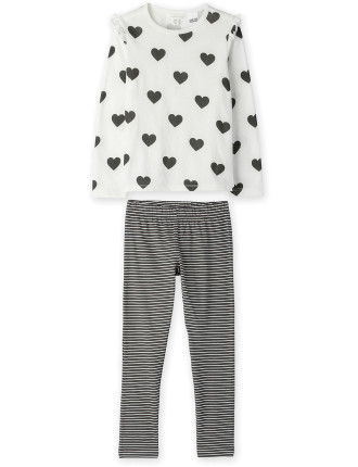 Heart Stripe Pjs 2-12 years