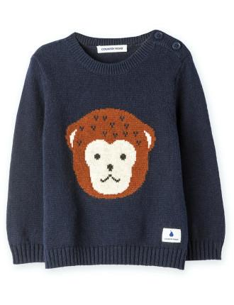 Monkey Intarsia Knit 0-24 months