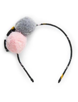 Floral Pom Pom Headband