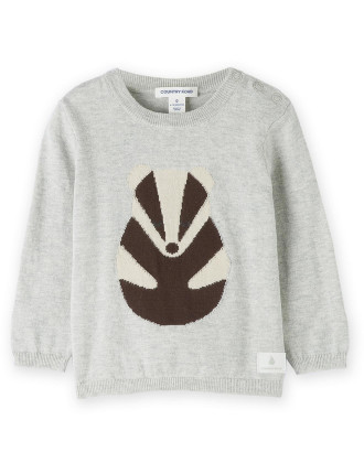 Badger Intarsia Knit 0-24 months