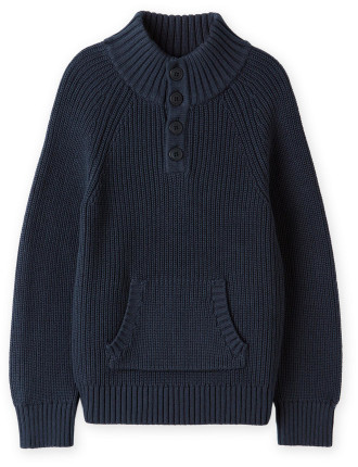 Rib Button Through Knit 2-12 years