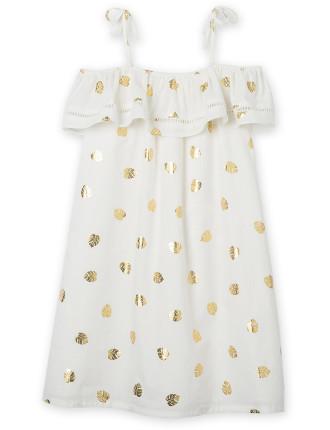 Girls Gold Leaf Dress