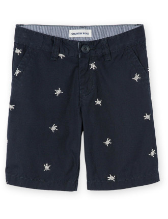 Boys Embroidered Turtle Short