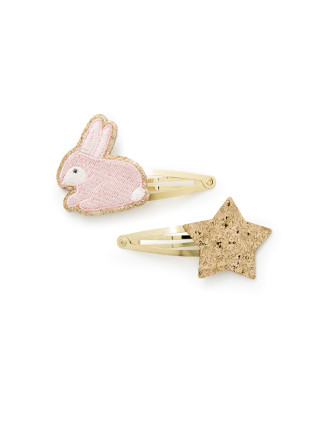 Bunny Star Clip Pack Of 2