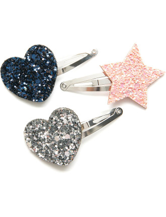 Glitter Clips Pack Of 3