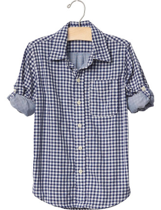 Gingham Double-Weave Convertible Shirt