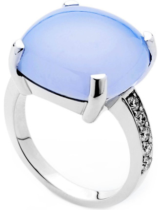 18ct Blue Chalcedony  Diamond Jacaranda Ring