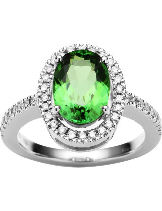 18ct Green Tourmaline  Diamond Piccadilly Ring