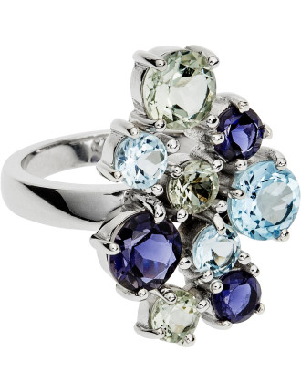 18ct Iolite Green Amethyst  Blue Topaz Alice Ring
