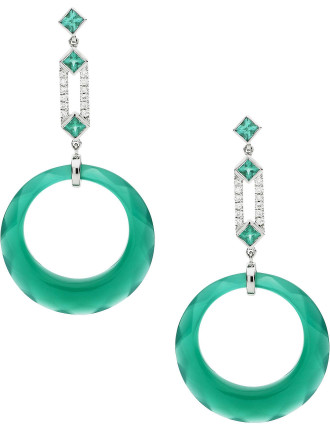 18ct Green Agate Diamond  Emerald Elizabeth Earrings