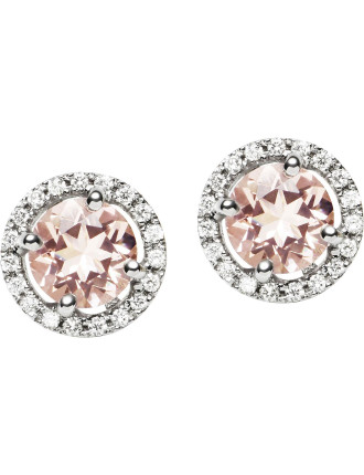 18ct Pink Morganite  Diamond Orbit Earrings
