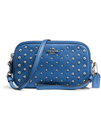 Crossbody Clutch In Pebble Leather With Ombre Rivets