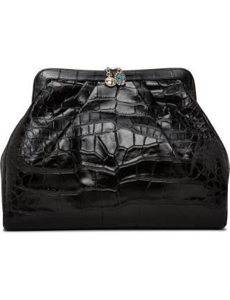 Frame Clutch Oversize In Croco Print