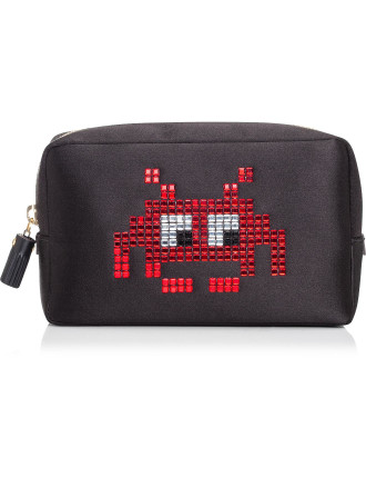 MAKE UP POUCH SPACE INVADERS RED SATIN CIRCUS