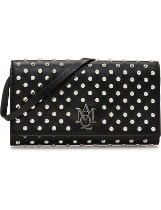 Insignia Monogramme Leather Strap Pouch W/Studs