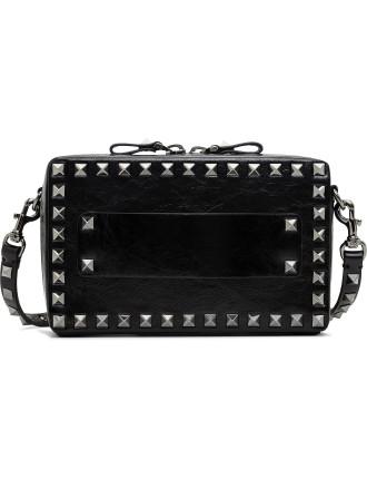 Rockstud Noir Bag Mini Zip Top Rithenium