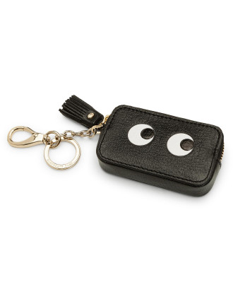 COIN PURSE EYES IN BLACK CAPRA