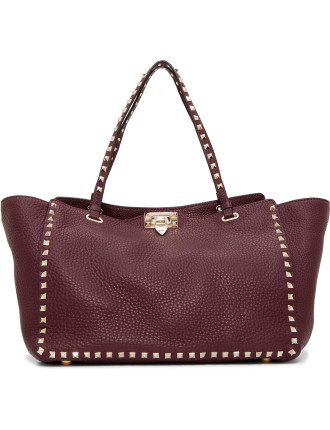Rockstud Leather Medium Tote