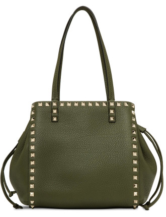 ROCKSTUD SMALL TOTE DOUBLE HANDLE GRAINY LTHR