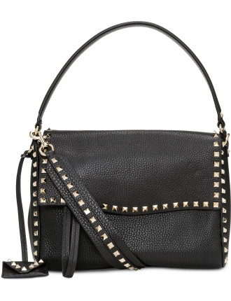 ROCKSTUD SINGLE HANDLE FLAP FRONT GRAINY LTHR