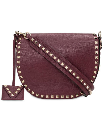 ROCKSTUD SADDLE BAG GRAINY LTHR