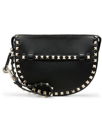 Rockstud Leather Wristlet Clutch