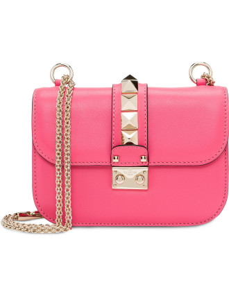 LOCK SMALL SHOULDER BAG  FLAP BIG STUDS SMOOTH LEATHER