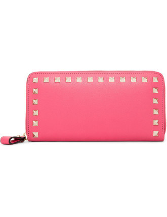 Rockstud Leather Zip Around Wallet