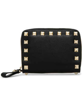 Rockstud Leather Zip Around Small Coin Purse