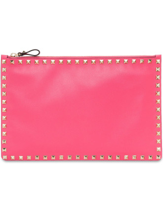 Rockstud Leather Large Flat Pouch